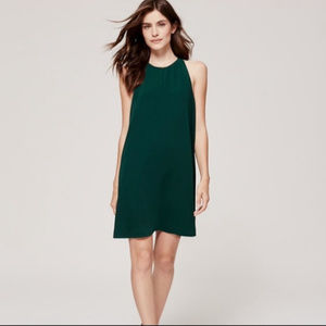 [ L O F T ]  LOFT Green T Back Trapeze Dress L